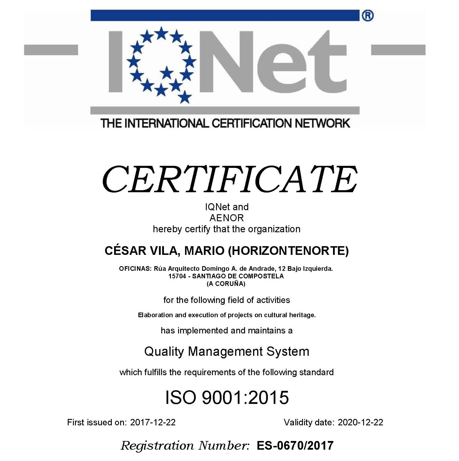 Certificación internacional ISO 9001:2015